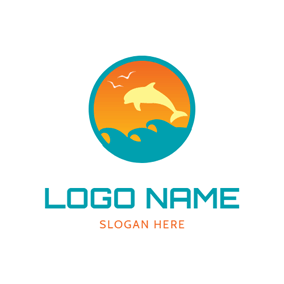 Blue Circle and Beige Dolphin logo design