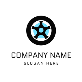 Blue Circle and Black Tire logo design