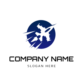Blue Circle and Combat Aircraft logo design