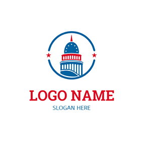 Blue Circle and Government Building logo design