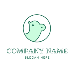 Blue Circle and Green Camel Head logo design