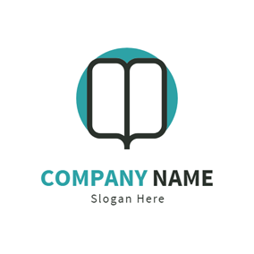 Blue Circle and Opened Book logo design