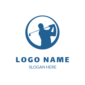 Blue Circle and Outlined Golfer logo design