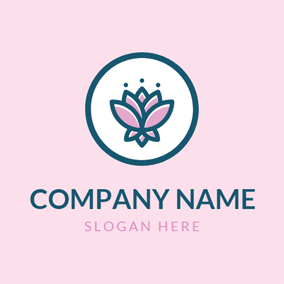 Blue Circle and Pink Lotus logo design