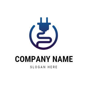 Blue Circle and Plug Wire logo design