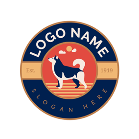 Blue Circle and Poodle Dog logo design