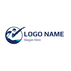 Blue Circle and Professional Swimmer logo design