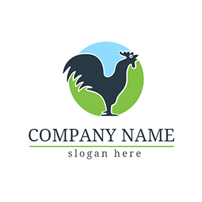 Blue Circle and Rooster Chicken Icon logo design