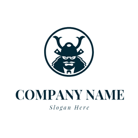 Blue Circle and Samurai Head logo design