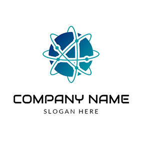 Blue Circle and Science Sign logo design