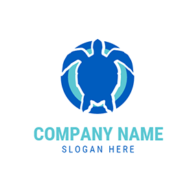 Blue Circle and Sea Turtle logo design