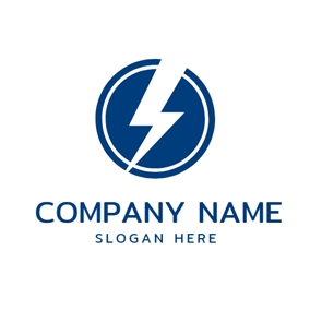Blue Circle and Simple Lightning logo design