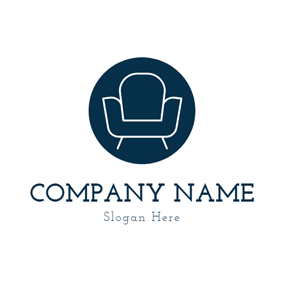 Blue Circle and Sofa Furniture logo design