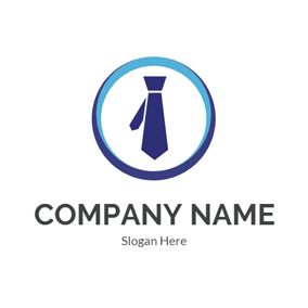 Blue Circle and Tie logo design