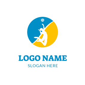 Blue Circle and Volleyball Player logo design