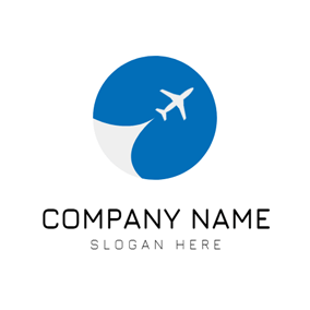 Blue Circle and White Airplane logo design