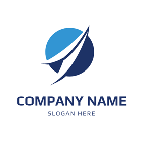 Blue Circle and White Arrow logo design