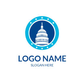 Blue Circle and White Building logo design
