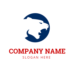 Blue Circle and White Cougar Head logo design