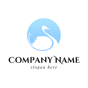 Blue Circle and White Duck logo design