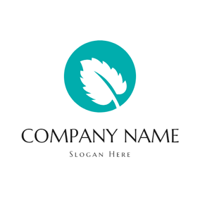 Blue Circle and White Mint Leaf logo design