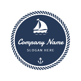 Blue Circle and White Sailboat logo design
