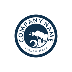 Blue Circle and White Sea Wave logo design