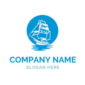 Blue Circle and White Steamship logo design