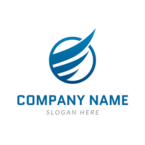 Blue Circle and Wing logo design