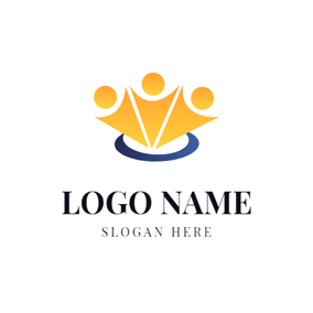 Blue Circle and Yellow Man logo design