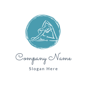 Blue Circle and Yoga logo design