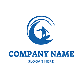 Blue Circle Wave and Surfing logo design