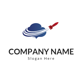 Blue Cloud and Red Rocket logo design