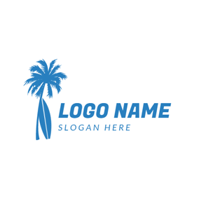 Blue Coconut Palm and Surfboard logo design