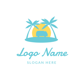 Blue Coconut Tree and Sunset logo design