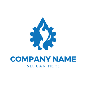 Blue Cog and Burning Fire logo design