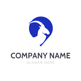 Blue Color Shape and Capricorn Animal logo design