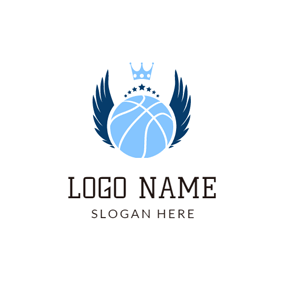 Blue Crown and Basketball logo design