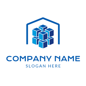 Blue Cube and Abstract Warehouse logo design