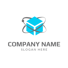 Blue Cube and Blockchain logo design