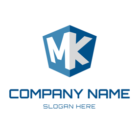 Blue Cube Letter M and K logo design