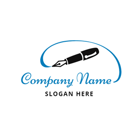 Blue Curve and Black Pen logo design