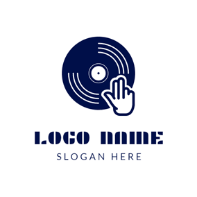 Blue Disk and DJ logo design