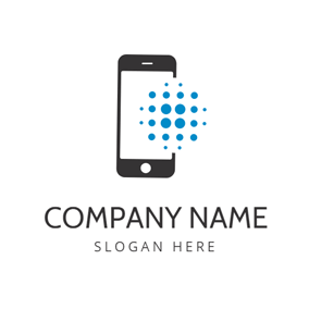 Blue Dot and Black Phone logo design