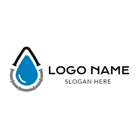 Blue Drop and Winding Pipe logo design