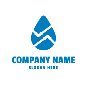 Blue Drop and Winding White Pipe logo design