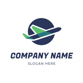 Blue Earth and Airplane logo design