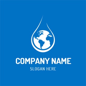 Blue Earth and White Water Drop logo design