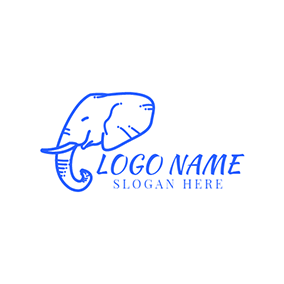 Blue Elephant Head Icon logo design