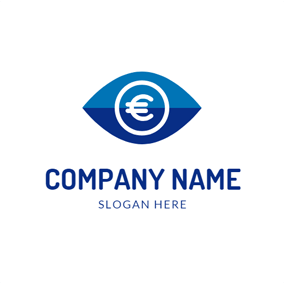 Blue Eye and White Euro logo design